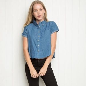 RARE Brandy Melville Denim Button Up